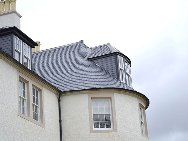 Underwood House - close up of turret and dormer slating