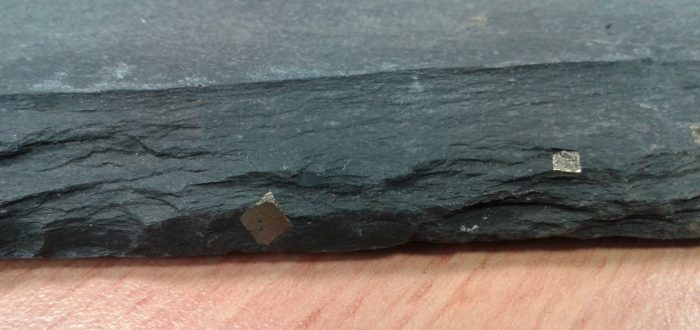 Cubic Pyrite - Markings on Roofing Slate